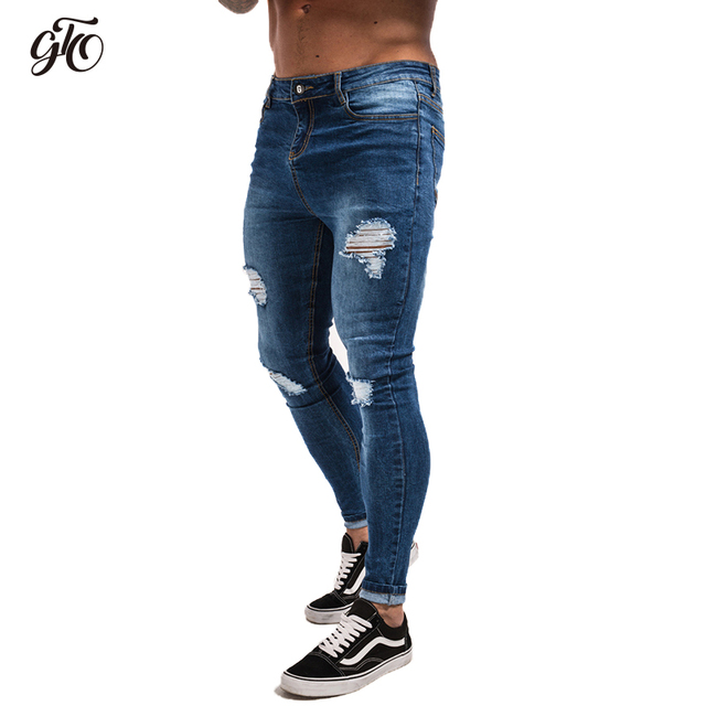 f9205d60ee18ff Gingtto Man Skinny Jeans Men Blue Ripped Jeans Stretch Hip Hop Super Skinny  Streetwear Slim Fit Denim Pants Male Fashion zm18