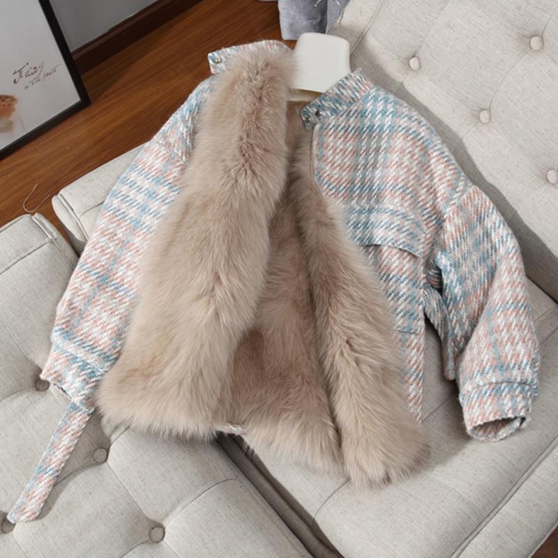 Faux Fur Parka Women 2018 Fashion Both Side Wear Warm Winter Plaid Wool Fur Coat Female Jacket With Sash parkas mujer invierno