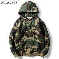 Aolamegs Hoodies Men Army Green Camouflage Hood Camo Fleece Pullover Fashion Hip Hop Streetwear Casual Hoodie