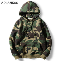 Aolamegs Hoodies Men Army Green Camouflage Hood Camo Fleece Pullover Fashion Hip Hop Streetwear Casual Hoodie