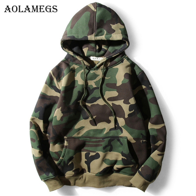 Aolamegs Hoodies Men Army Green Camouflage Hood Camo Fleece Pullover Fashion Hip Hop Streetwear Casual Hoodie 2017 Autumn Winter