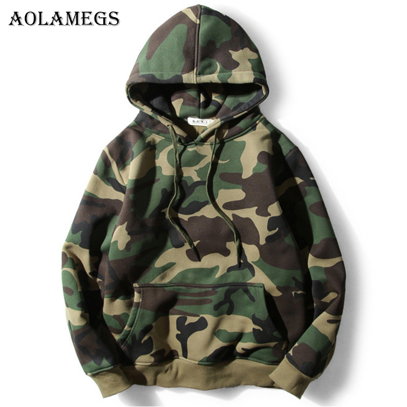 Aolamegs Hoodies Men Army Green Camoufla