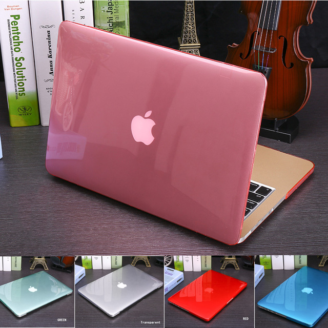 Cubierta de la caja de cristal transparente para apple macbook air pro retina 11 12 cubierta de la caja 13 15 bolsa de ordenador portátil para macbook air 13 recorte logo