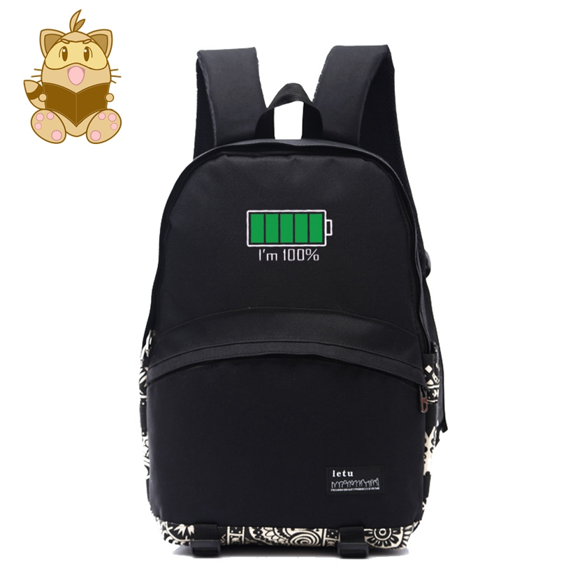 Cool daily backpack new designed battery icon printing black nylon backpacks NB039 black diamond icon