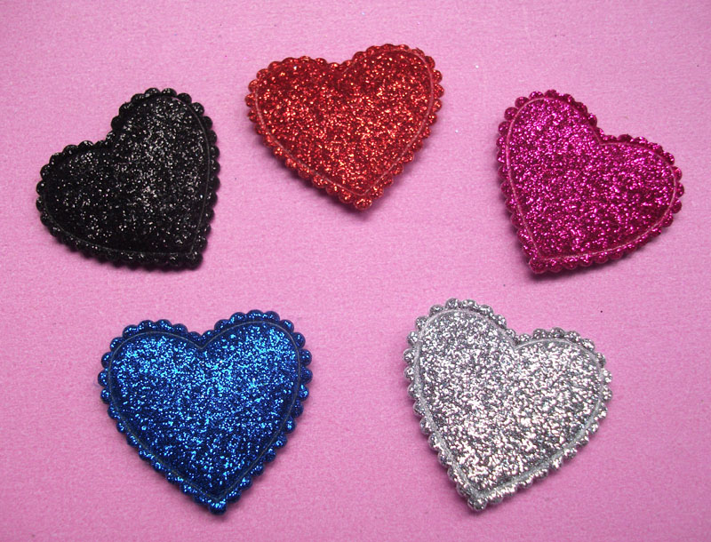 Free shipping 20pcs Padded Shiny/Glitter Felt Heart Appliques for Valentines Card