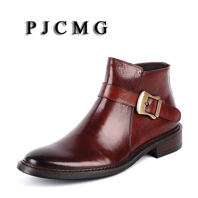 PJCMG yüksek kalite erkekler siyah/kırmızı kayma-On katı ayak bileği su geçirmez kauçuk rahat hakiki deri resmi iş ofis erkek çizmeler
