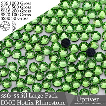 Upriver Wholesale Large Pack Iron On Big Sizes SS6 SS10 SS16 SS20 SS30 Peridot Hotfix Rhinestones For Garment Accessories