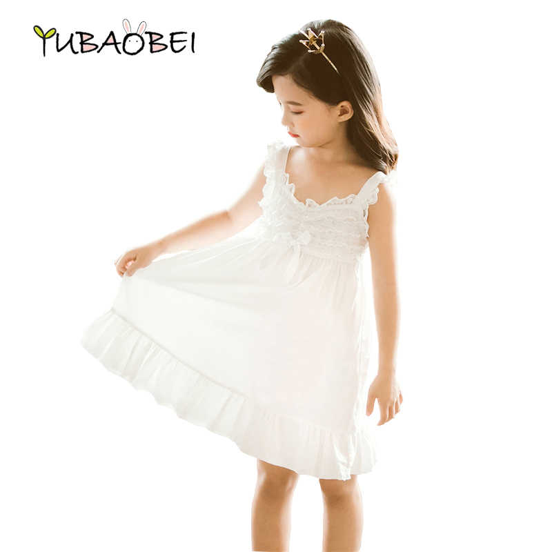 Kids Girl Summer White Dress Quality Cotton Lace Children Clothes Costume Sundress Beach Short Holiday Hawaii Off Shoulder Dress