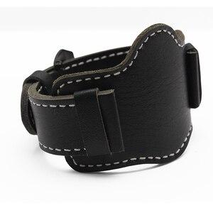 Image 4 - 20mm 22mm 24mm 26mm Quality Cuff Bracelet Strap Leather Watchband  Black/Brown Decorative Style Belt For Mens