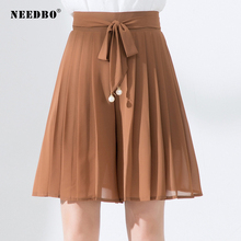 NEEDBO Mini Chiffon Skirt Pleated Solid A-Line Women 2019 Culottes High Waist Casual Slim Fit Summer Skirts Womens WS28239