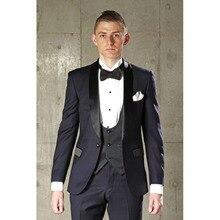 2017 Terno Masculion 3 piece Costume Homme Navy Blue Groom men Wedding Dress Suits Formal Mens suit Tuxedo jackets+Pants+Vest