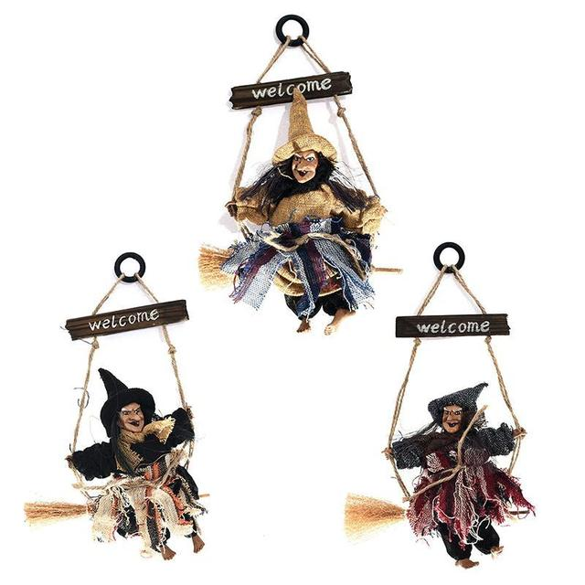 high quality halloween witch broomstick door hanging decorations for home party bar vintage decoration horror props