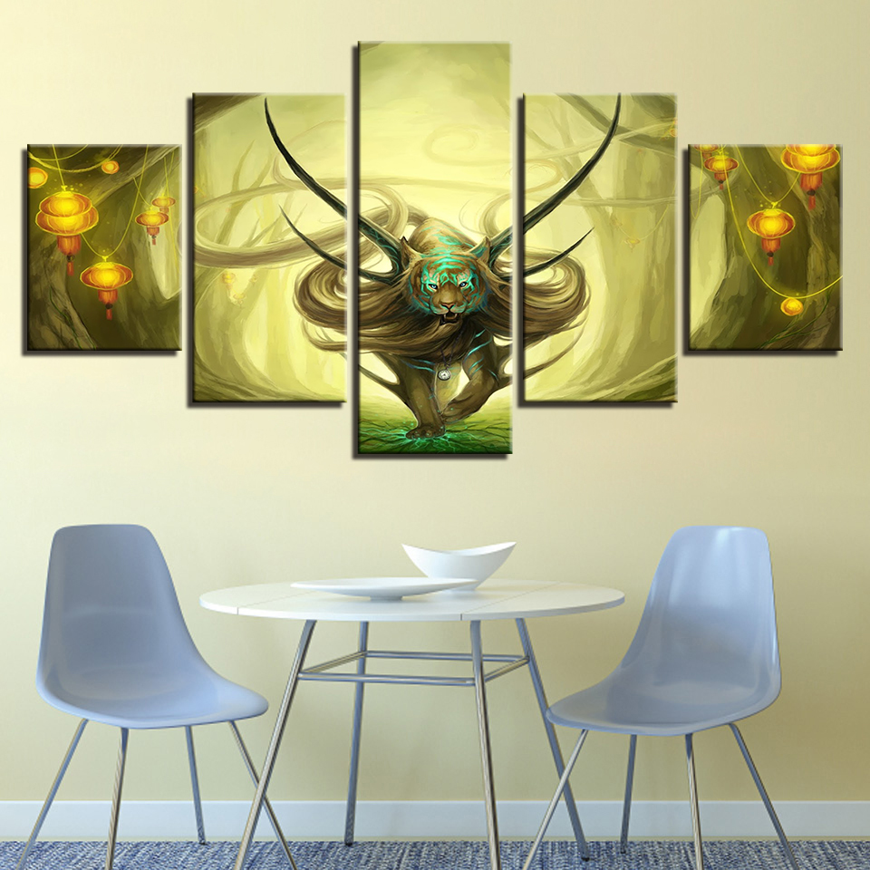 Large Poster HD Printed Painting Canvas Print 5 Panel Fantasy Lion ...