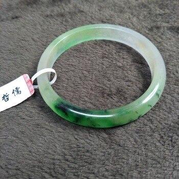 Zhe Ru Jewelry Pure Natural Jadeite Bracelet Elegant Natural Ice Bottom Green Bicolor 54-62mm Female Gift Send A Certificate