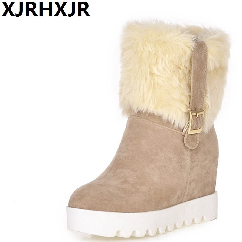 XJRHXJR Fashion Russia Winter Warm Shoes Woman Round Toe Hidden Heels Keep Warm Fur Boots Ladies Plush Wedges Mid-calf Snow Boot taoffen size 30 52 russia women round toe height increasing mid calf boots woman cross strap warm fur winter half shoes footwear