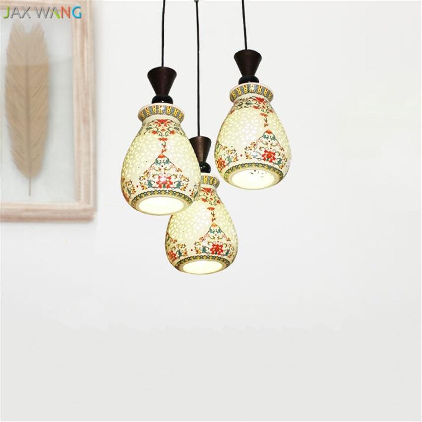 JW Chinesischen Stil Drei Kpfe Jingdezhen Keramik Pendelleuchte Antike Lampen Vintage Fr Wohnzimmer Beleuchtung Dekor