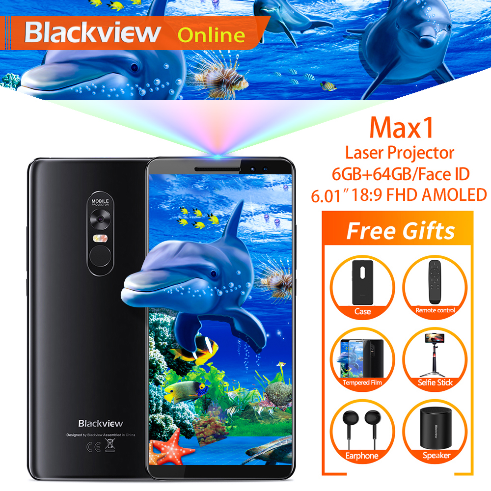"""Blackview Max 1 6.01 """"projector Mobiele Telefoon 6 Gb + 64 Gb Fhd Amoled Android 8.1 Draagbare Home Theater Movie Projector 4g Smartphone"""