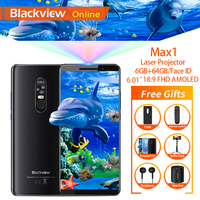 Blackview MAX 1 6.01 Projector Mobile Phone 6GB+64GB FHD AMOLED Android 8.1 Portable Home Theater Movie Projector 4G Smartphone