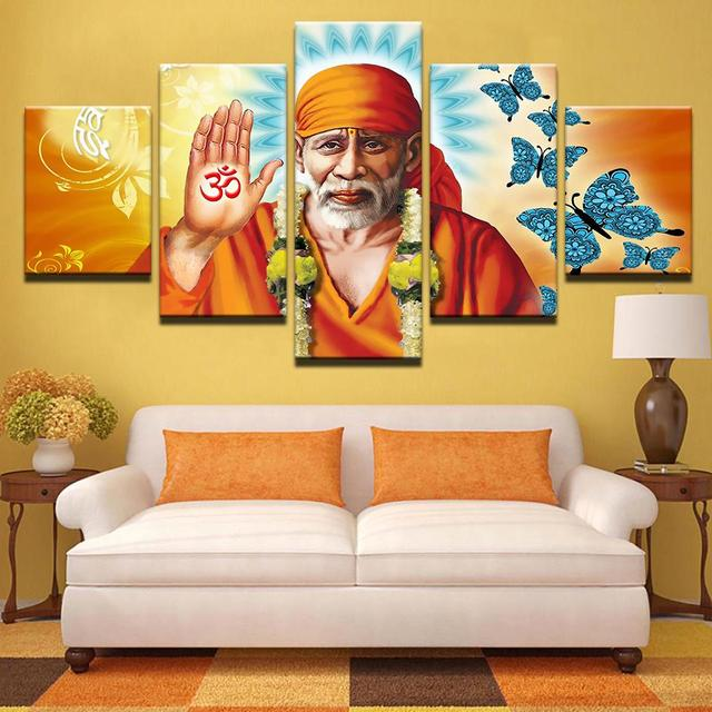 Framed 5 pcs HD Print Sai Baba art painting canvas wall art picture ...