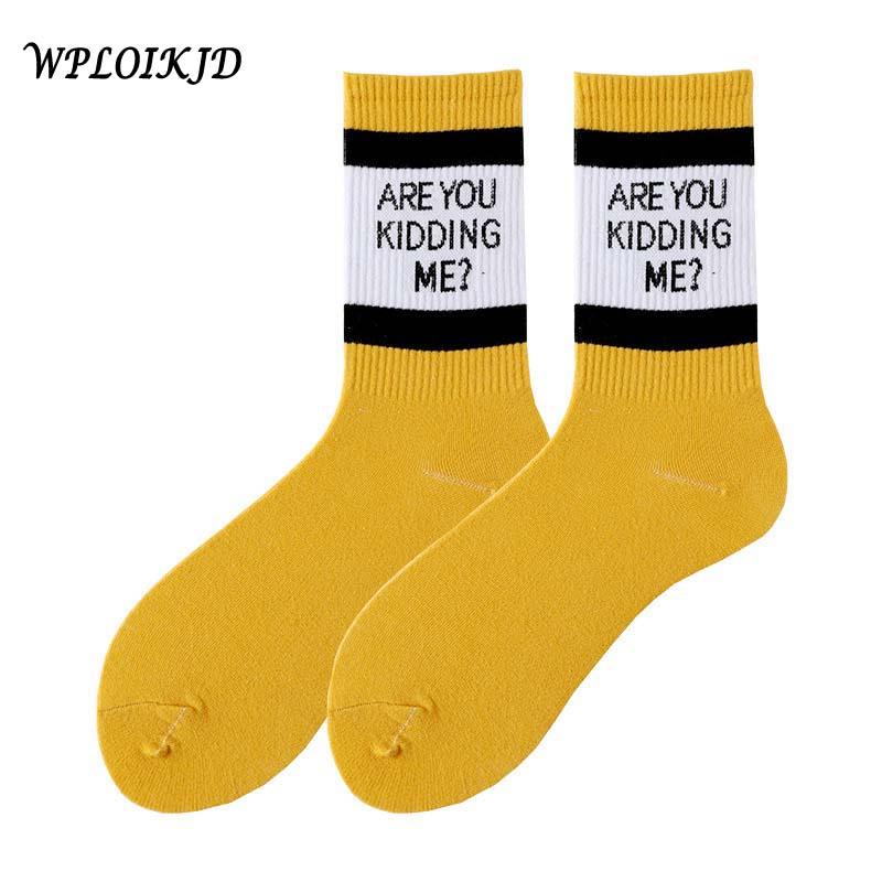 [WPLOIKJD]Cool Letter Harajuku Funny Socks Women Are You Kidding Me Fashion Striped Socks Women Cotton Calcetines Mujer Sokken