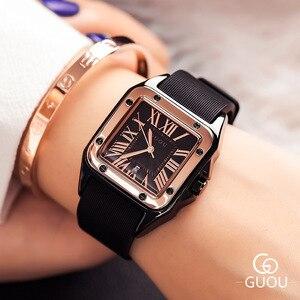 Image 3 - חדש כיכר נשים שעונים נשים רומי מספרי שעוני יד רוז זהב מקרה גומי סיליקון שמלת שעון גבירותיי קוורץ שעונים עבור גברת