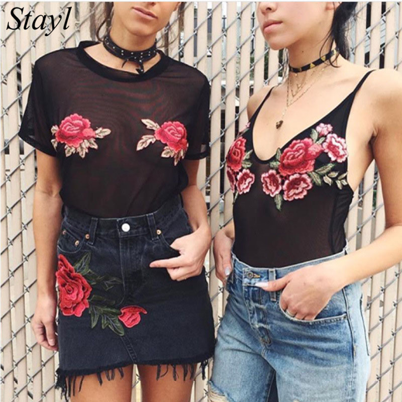 Sexy Bodysuit Mesh Flower Embroidery Lace Jumpsuit Ladies V Neck Strap Overalls For Women Catsuit Body