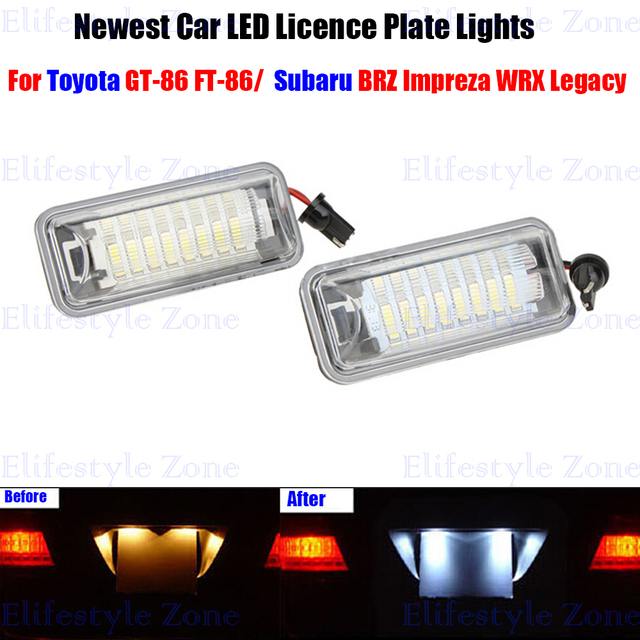 2 x LED Number License Plate Lamps OBC Error Free 18 LED For Toyota ...