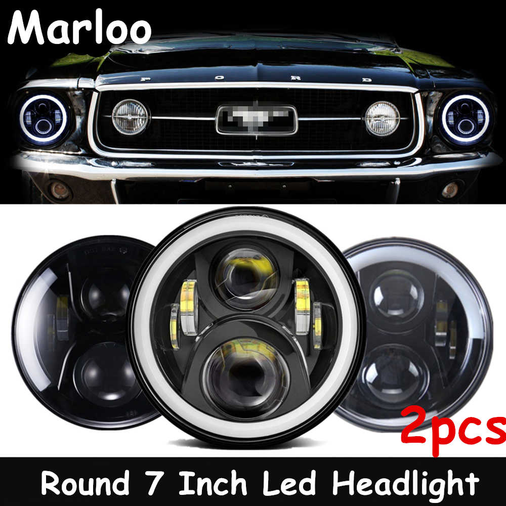 dot led hi low projector 7 inch round headlights for ford mustang 1965 1978 for jeep wrangler jk tj 1997 2018 car light assembly aliexpress dot led hi low projector 7 inch round