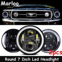 Punto LED bajo proyector 7 pulgadas de los faros redondos para Ford Mustang 1965-1978 para Jeep Wrangler JK TJ 1997-2018