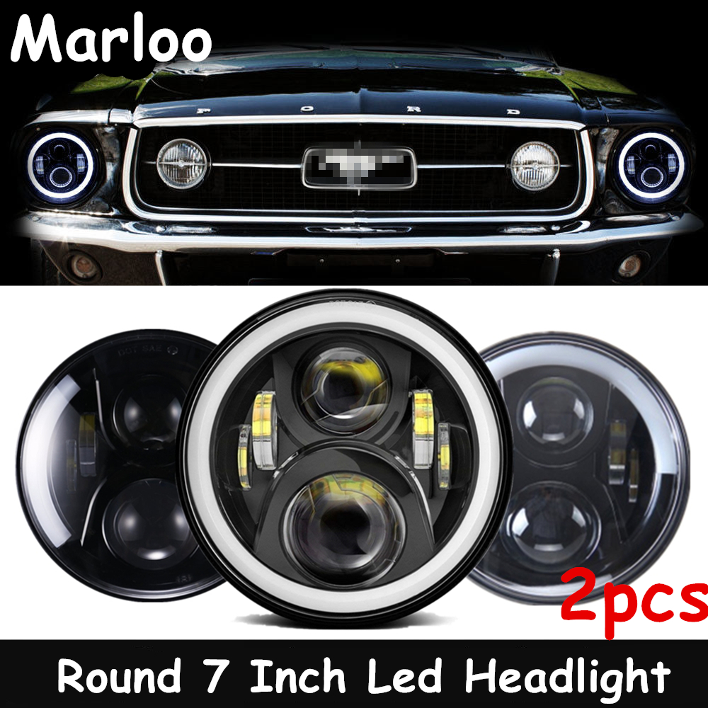 DOT LED Hi Low Projector 7 Inch Round Headlights For Ford <font><b>Mustang</b></font> 1965-1978 For Jeep Wrangler JK TJ 1997-2018 image