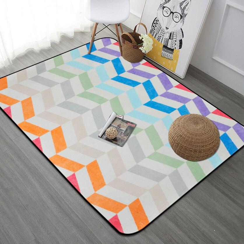 Rayure tapis salon la chambre canapé Table à thé tapis Rectangle lit enfants jouer tapis Fashion Pad