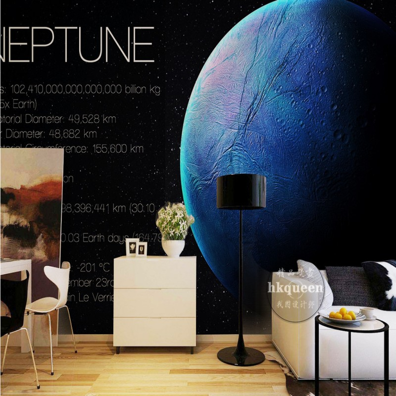 Free Shipping Solar System Neptune Blue Planet KTV Backdrop ...