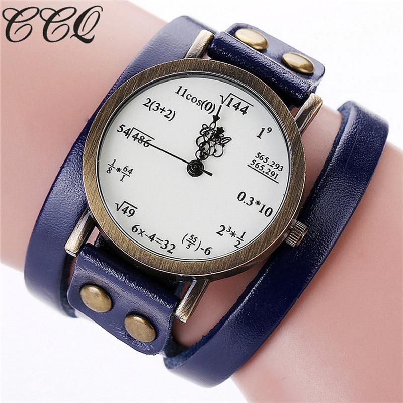 Brand Fashion Vintage Creative Leather Math Formula Equation Watch Casual Women Bracelet Quartz Watch Relogio Feminino Mujer