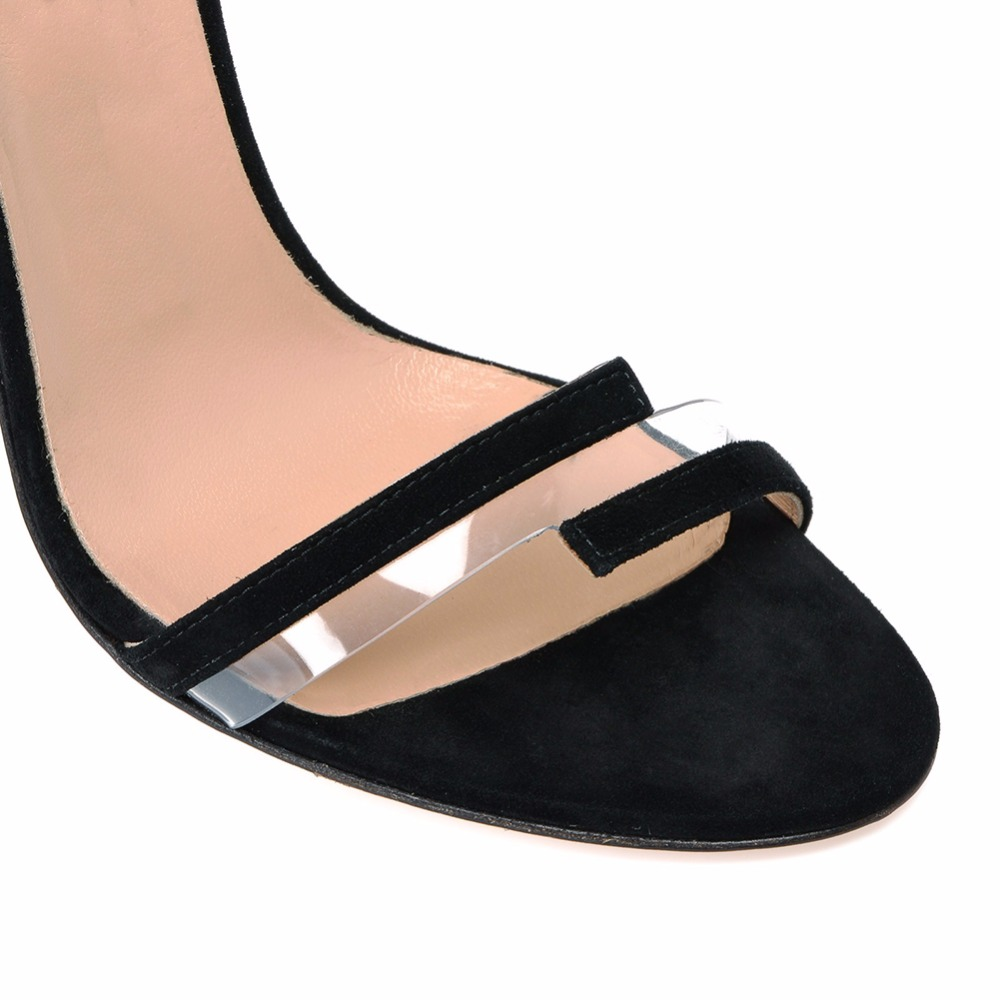 Clear Transparent PVC Mixed Patent Leather Woman Elegance Black Sandals Woman Shoes Open Toe Ladies Sexy Stilettos With Buckle in High Heels from Shoes