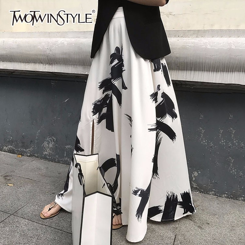 TWOTWINSTYLE Print Split Skirt Ladies High Waist Elastic Large Size X Long Elegant Skirts Female 2019 Spring Summer Tide Clothes