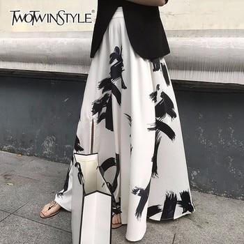 TWOTWINSTYLE Print Split Skirt Ladies High Waist Elastic Large Size X Long Elegant Skirts Female 2019 Spring Summer Tide Clothes