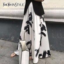 TWOTWINSTYLE הדפסת פיצול חצאית גבירותיי גבוהה מותן אלסטי גודל גדול X ארוך אלגנטי חצאיות נקבה 2020 אביב קיץ גאות בגדים