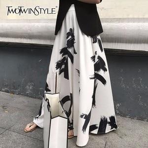 Image 1 - Twotwinstyleプリント分割スカートの女性のハイウエスト弾性大サイズxロングエレガントなスカート女性2020春夏の潮服