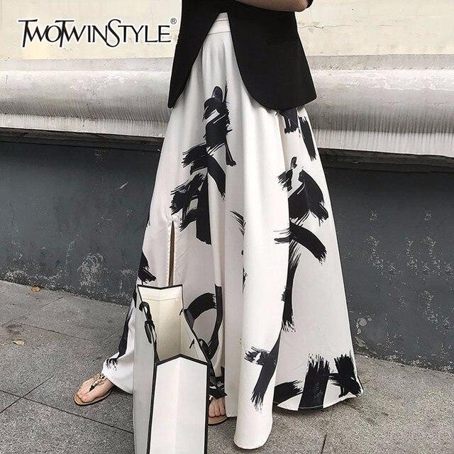 Twotwinstyleプリント分割スカートの女性のハイウエスト弾性大サイズxロングエレガントなスカート女性2020春夏の潮服