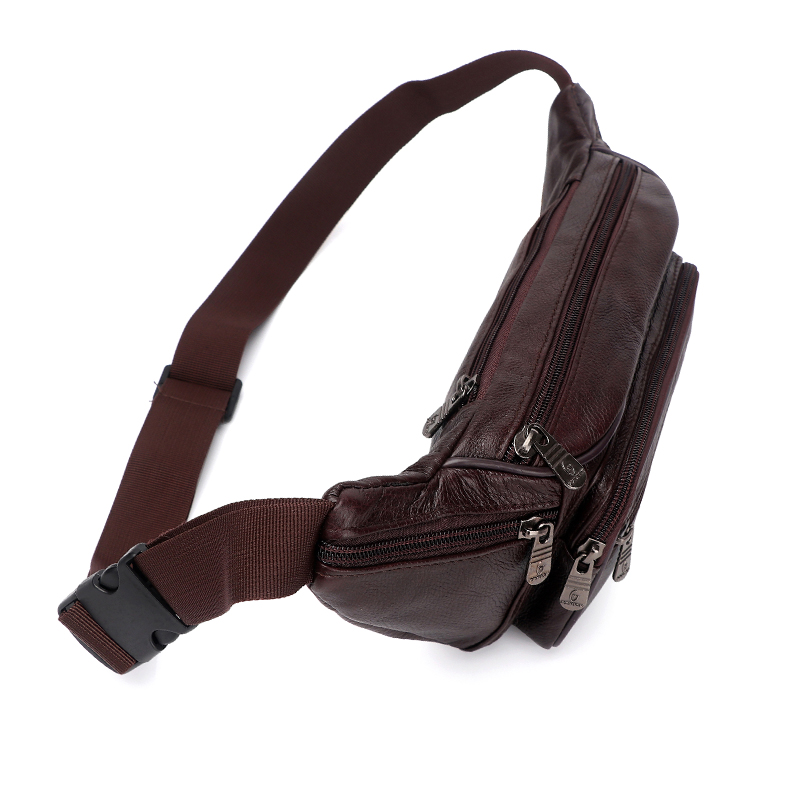 Image 4 - Genuine Leather Waist Bag men Waist Pack Waist Bag Funny Pack Belt Bag  Men Chain Waist Bag For Phone Pouch  Bolso ZZNICK-in Waist Packs from Luggage & Bags