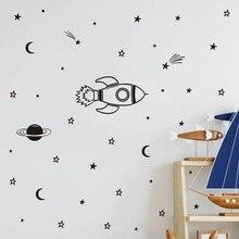 Rocket Wall Sticker For Kids Room Boy DIY Home Decoration Children Bedroom Decals Removable Paper