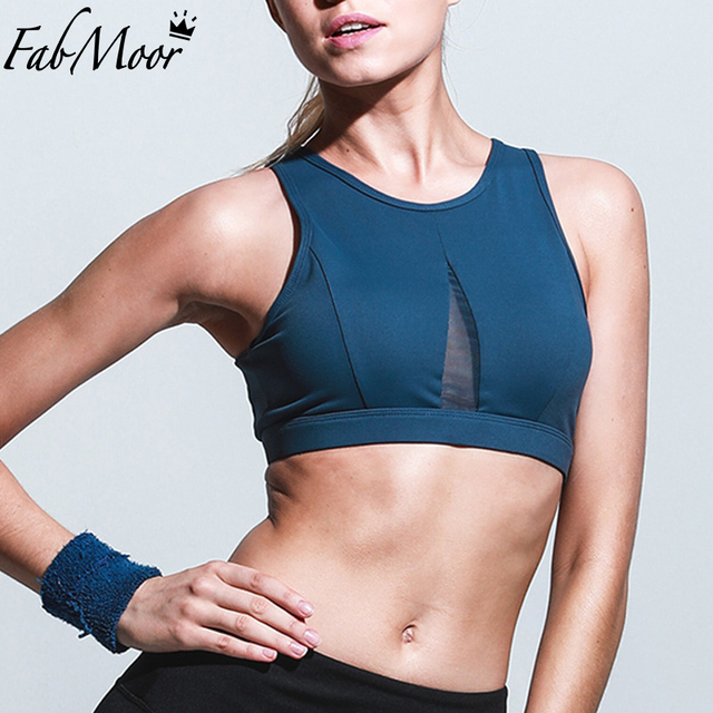 781c74edfe344 Open back Sport Bra Front Mesh Insert Crop Top High impact Sports Top Vest  Gym Padded Yoga Bras Push up bra Running Active wear