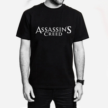 Assassins Creed Letter Men's T-shirt Boys Cotton White Tshirt Novel Swag Tee Male Anime Comics Clothes T-shirts Assassin Creeds