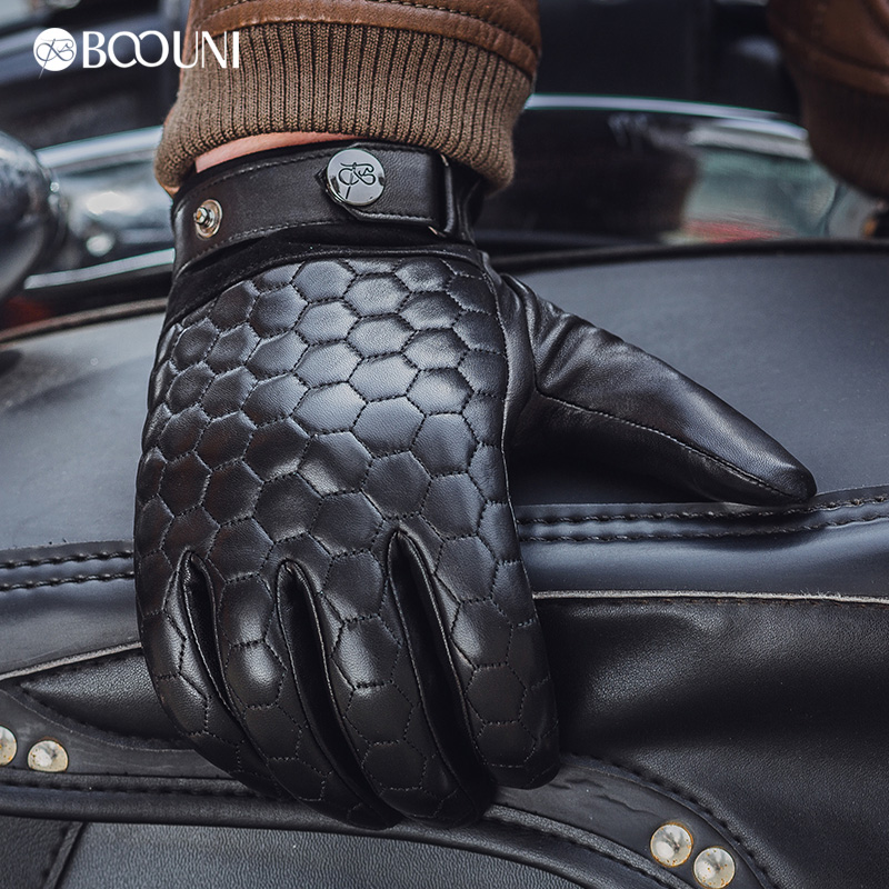 Image 5 - BOOUNI Genuine Leather Men Gloves Fashion Plaid Black Business Sheepskin Driving Glove Winter Thicken Warm Five Finger NM764-in Men's Gloves from Apparel Accessories