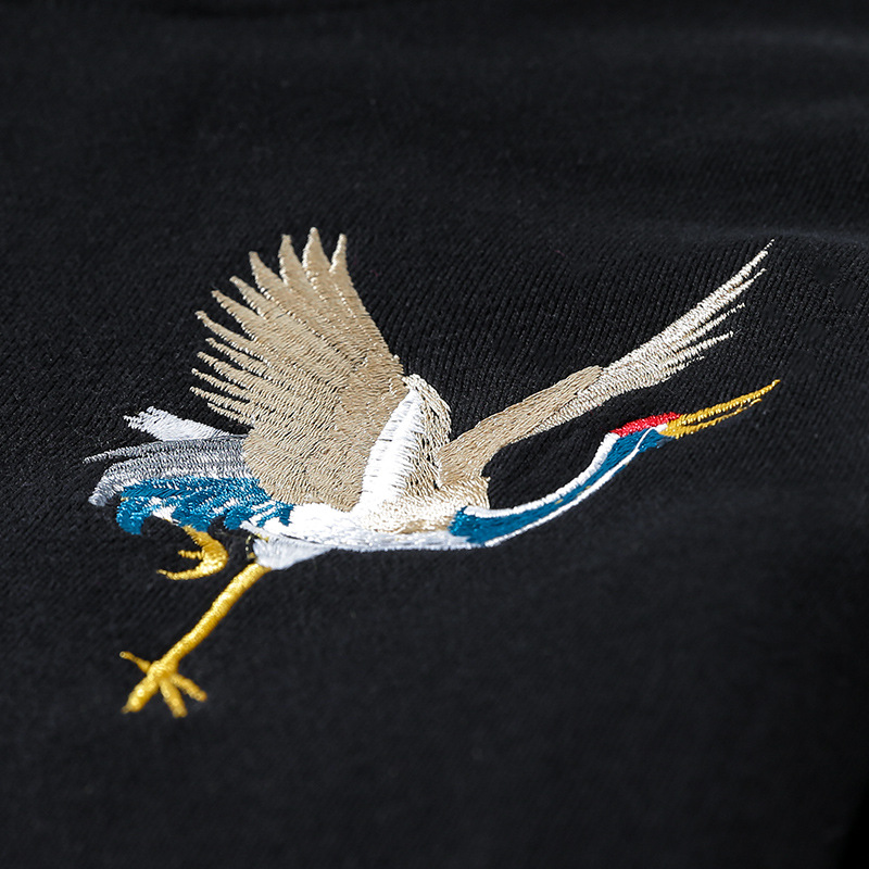 Chinese Style Sweatshirts Men 2019 Autumn Embroidery Animal Japanese Crane Hoodie Men Hip Hop pullover Streetwear Couple Clothes in Hoodies amp Sweatshirts from Men 39 s Clothing