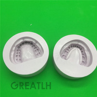 2pc Silicone purple Dental Plaster Model Mold Mould of Edentulous Jaw Complete Cavity Block with hole