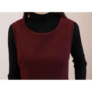 Image 5 - Women Wool Vest Dress Fashion Autumn Winter Elegant Slim O neck Sleeveless Dress Plus size Ladies With pocket Woolen Dress 3XL