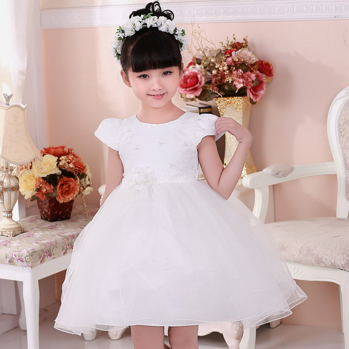 2017 Hot Latest Children Fancy Formal Girl Dress White Mini Ball Gown Formal Girls Clothes For 2 3 4 6 8 10 Years Old KD-1459 longoni fancy hot lips 4