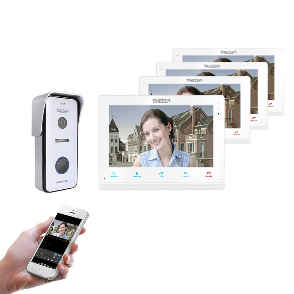 TMEZON  Wireless Wifi Smart IP Video Doorbell Intercom System ,10 Inch+3x7 Inch Screen Monitor With 720P Wired Door Phone Camera