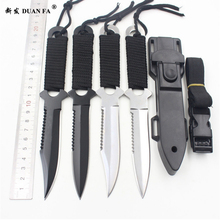 DUAN FA Paratroopers Knife Stainless Steel Diving Straight knife Outdoor Survival Camping Pocket Tactical